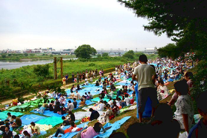 定点Dの多摩川&たまがわ花火大会の混雑状況@二子玉川