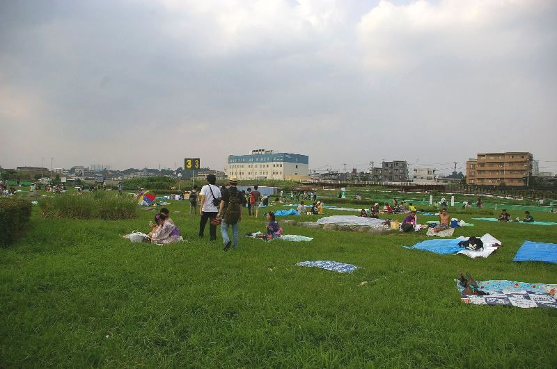 定点3の多摩川&たまがわ花火大会の混雑状況@二子玉川09年