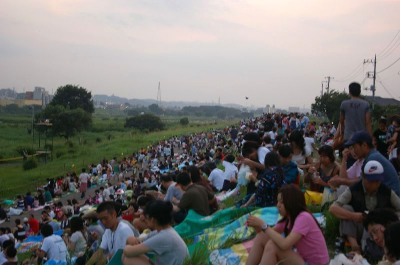定点Aの多摩川&たまがわ花火大会の混雑状況@二子玉川09年