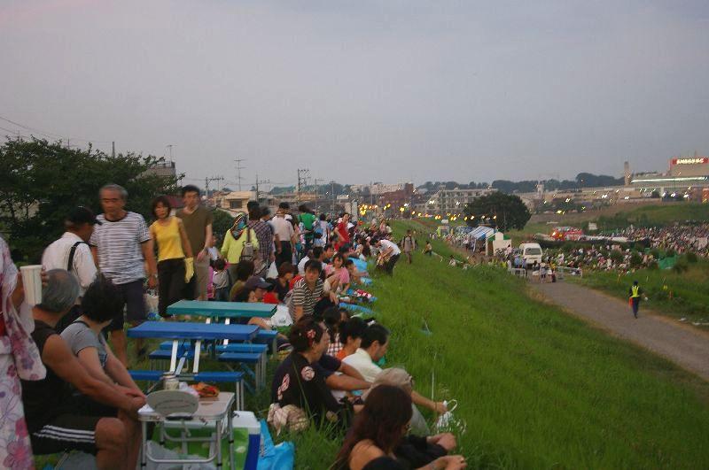 定点Bの多摩川&たまがわ花火大会の混雑状況@二子玉川09年